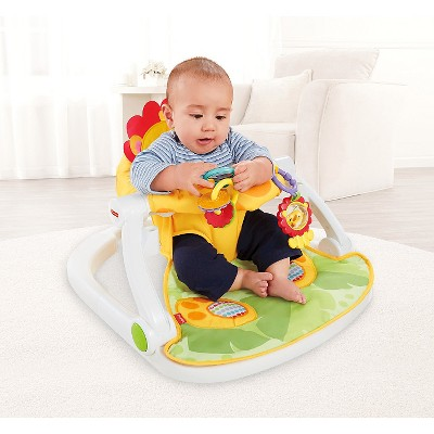 Fisher Price Sit Me Up Floor Seat With Tray Orange Yellow Green