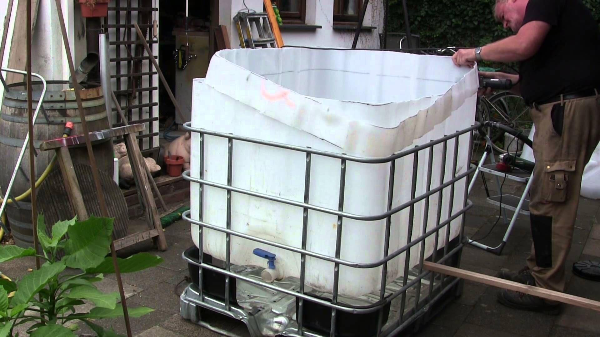 Superior Bau Eines Kleinen Pools Aus Einem IBC Tank Container Zum Erfrischen Im  Sommer.