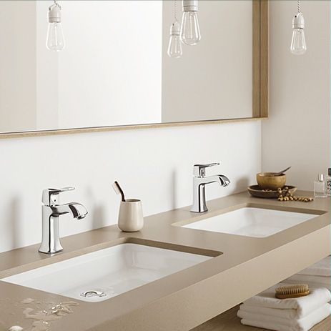 Hansgrohe Metris Classic single lever faucets on double