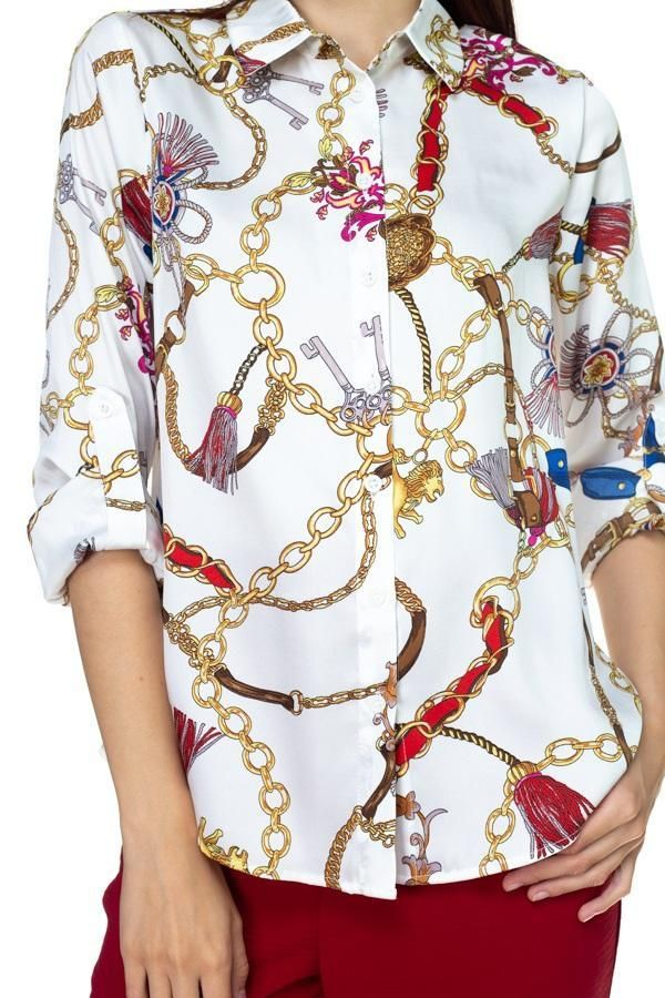 SCARF PRINT PLEATED FRONT SHIRT