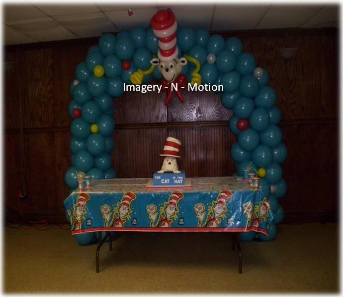 Cat In The Hat Birthday Balloon Arch