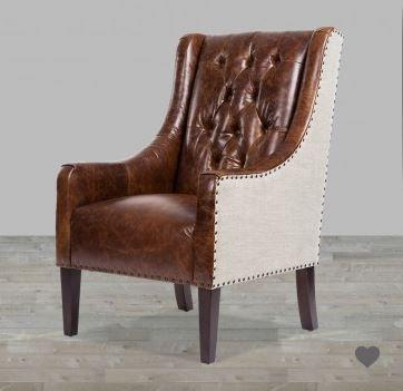 Antique Brompton Leather With Khaki Herringbone Chair