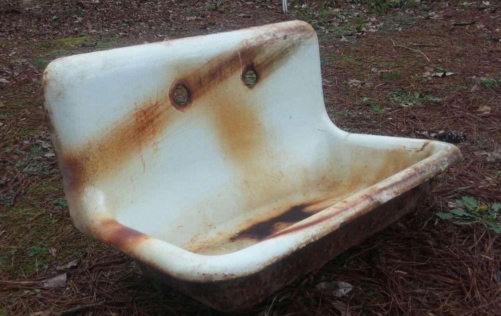 antique cast iron high back sink kitchen laundry enamel