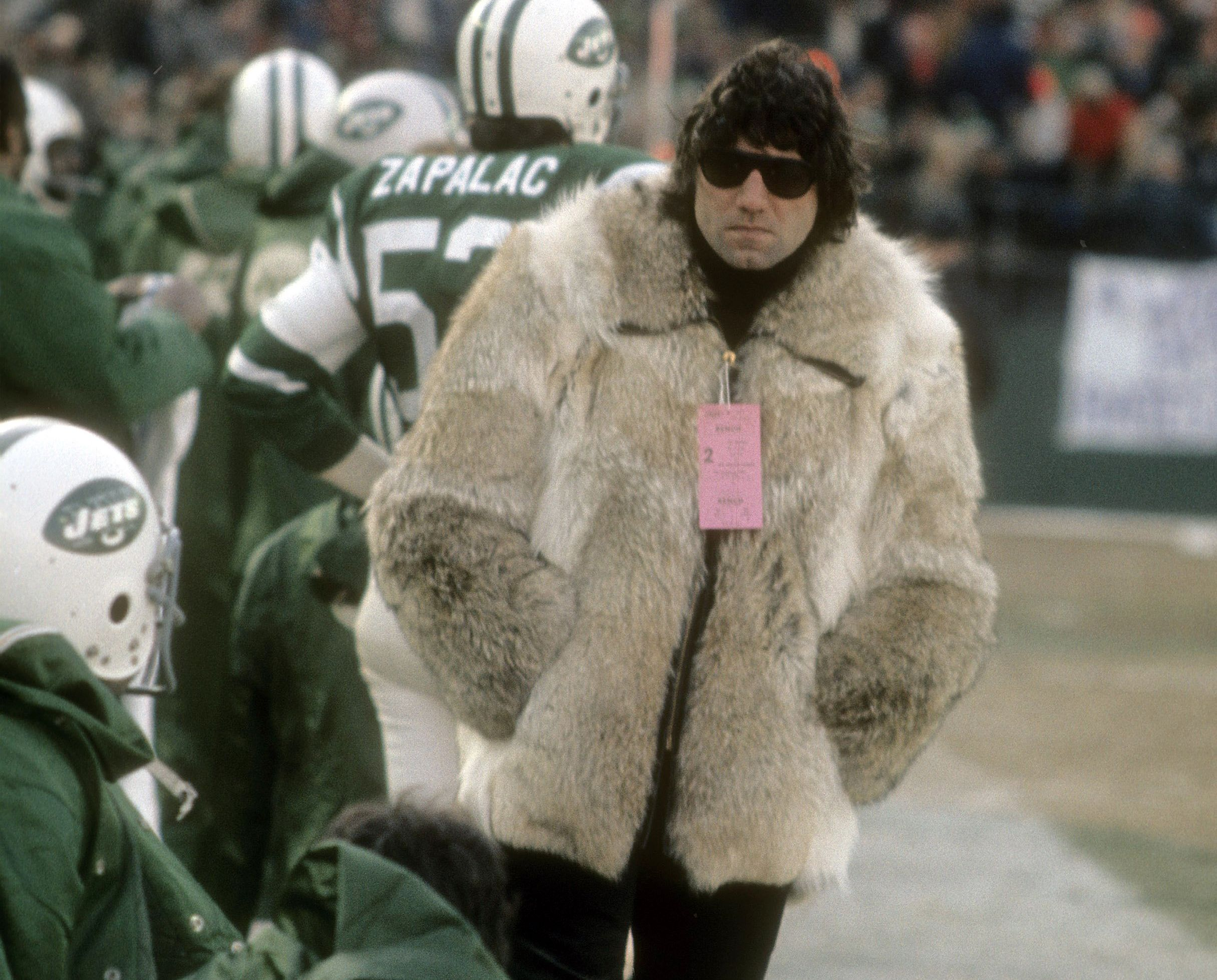 Image result for joe namath mink coat sidelines