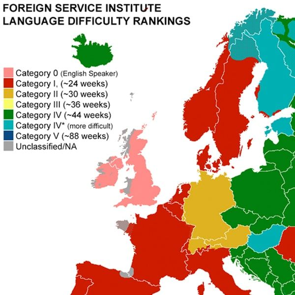 Revealing Map Shows How Long It Takes to Learn the Most Popular Languages in Europe
