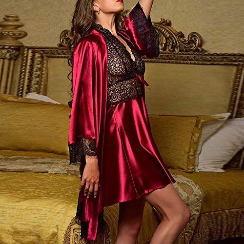 4b32d1deaa New Nightdress Set Women's Sexy Satin Lace Sleepwear Babydoll Lingerie Pajamas  Nightwear Dress Ladies Cute Hot Tops Red XXL,#Sleepwear, #Lace, #Lingerie,  ...