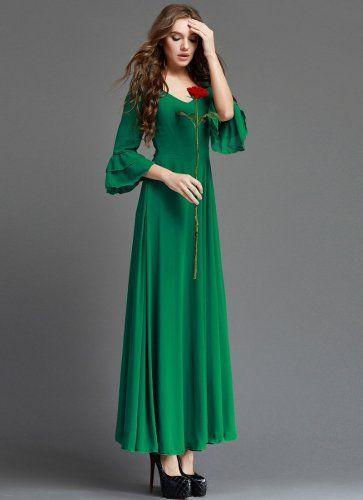 Emerald Green Maxi Dress with 3 Quarter Trumpet Sleeves RM364 ... 7fca9512470d