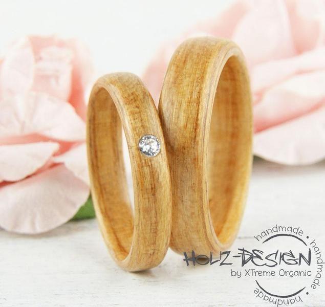 Kirschholz Bentwood Eheringe mit Stein Verlobung von Holz Design