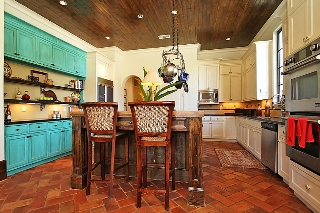 Love The Teal Accent Cabinets With Saltillo Tile