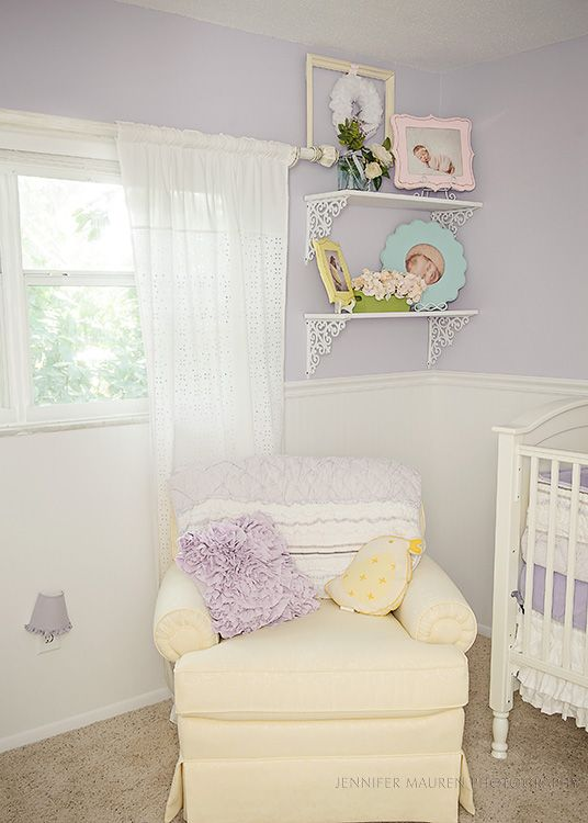 OMG i love this nursery! Lilac, yellow and I would add grey ...