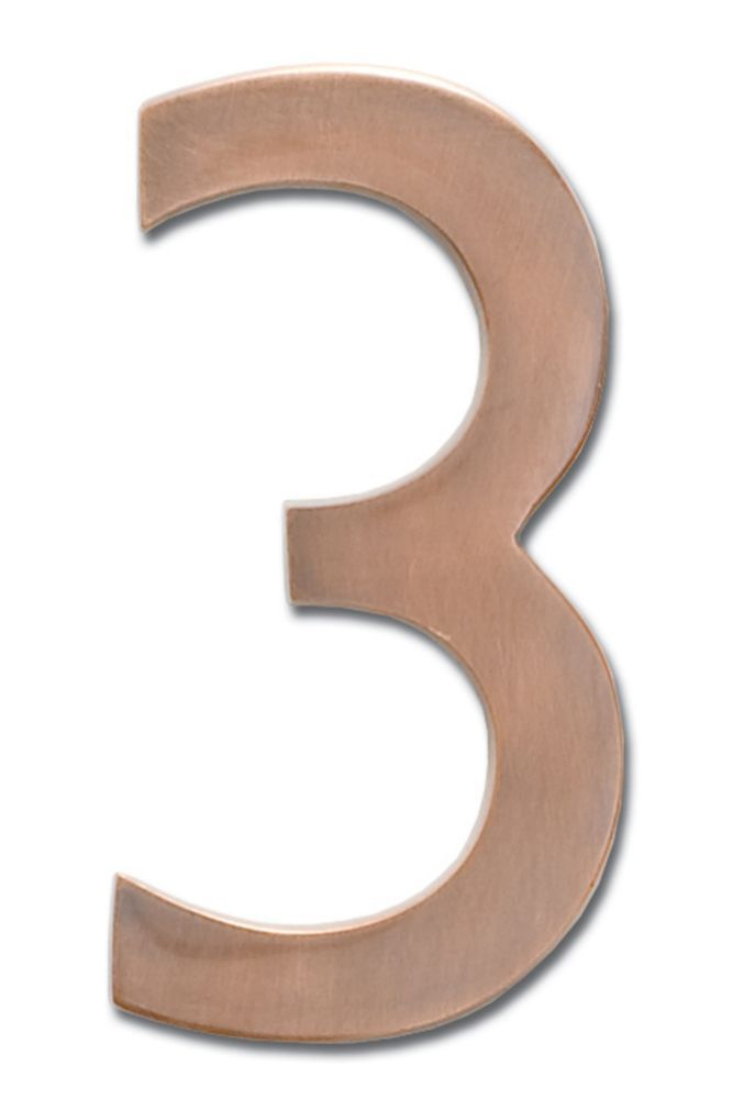 Solid Cast Brass 4 Inch Floating House Number Antique Copper 3 Architectural Mailboxes Floating House House Numbers