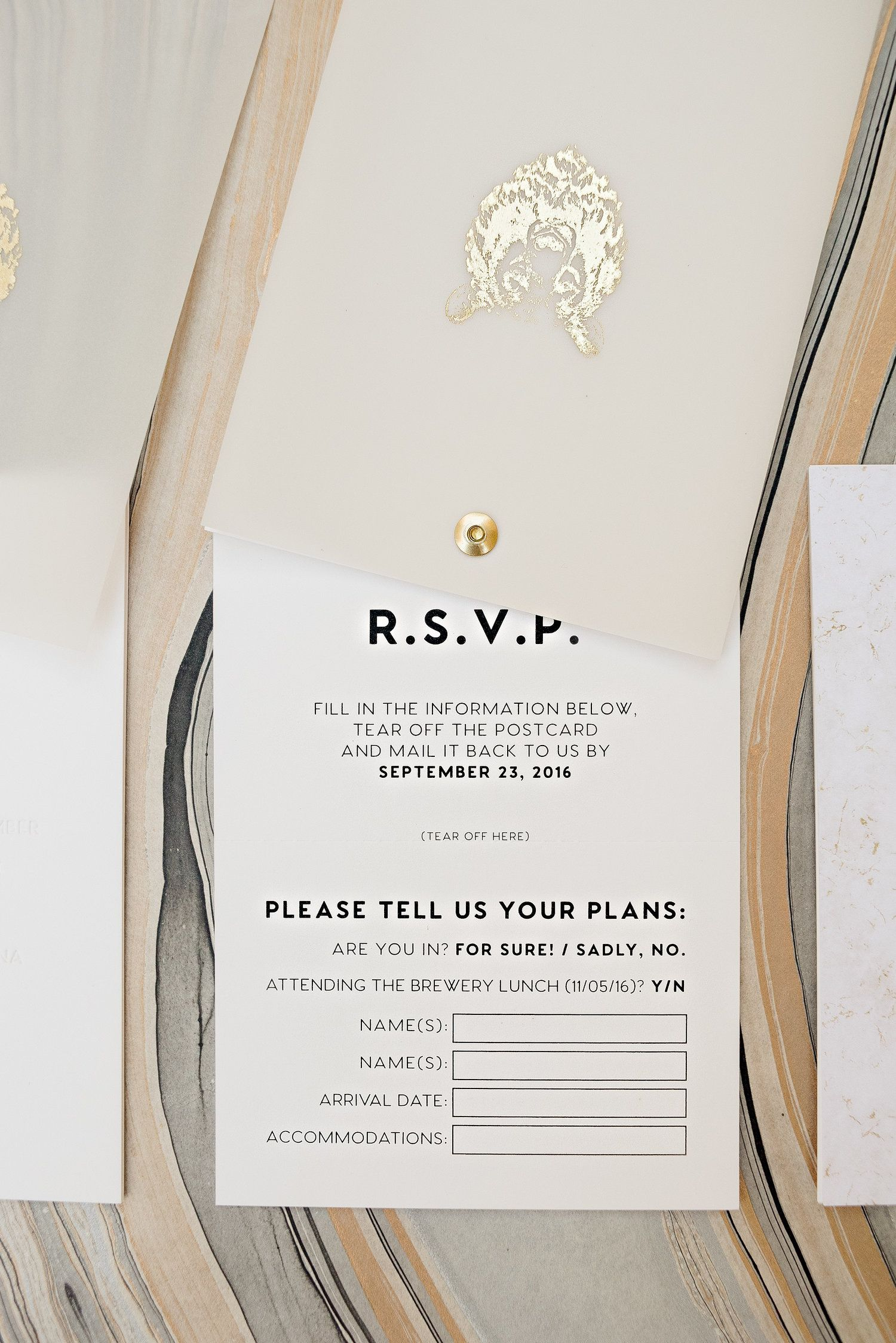 wedding invitation sample by email%0A Twist rotating wedding invitation suite  gold foil logo on vellum cover   blind emboss