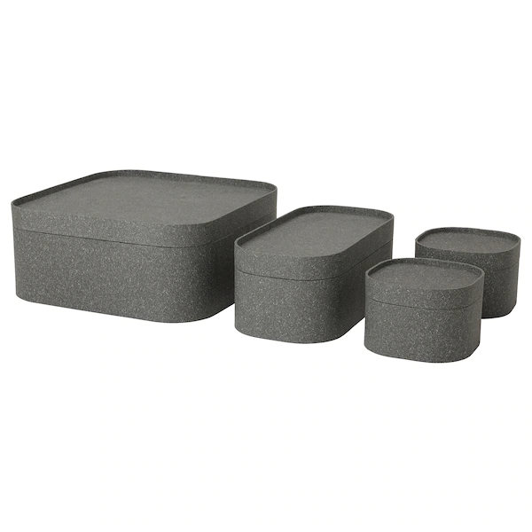 Sammanhang Box With Lid Set Of 4 Dark Gray Ikea Ikea Couvercle Boite