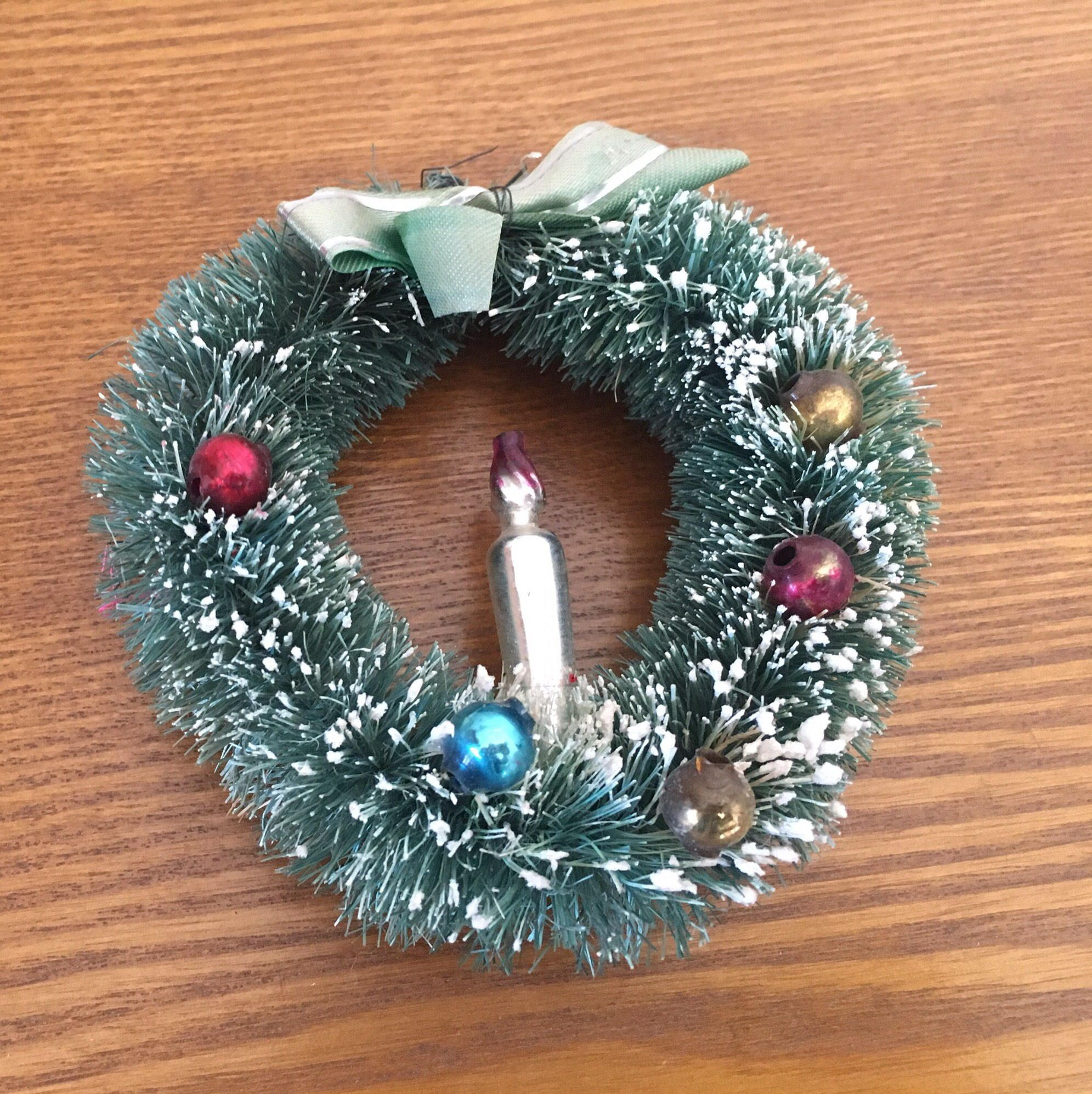 Mercury Balls Decorations Vintage Christmas Bottle Brush Wreath Mercury Glass Balls