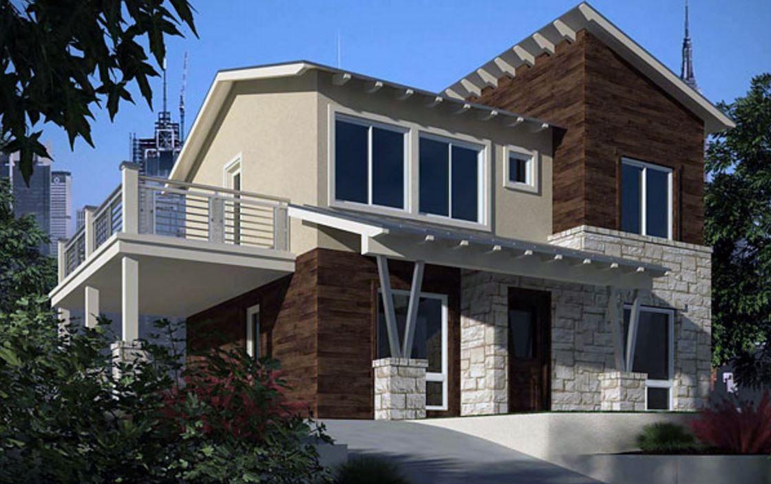 fachada-con-balcon-y-piedras-combinadas   8   Pinterest   Balcones ...