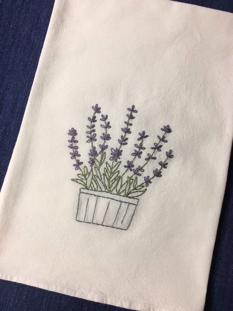 Flour Sack Lavender Towel Hand Embroidered Tea Towel Wildflower