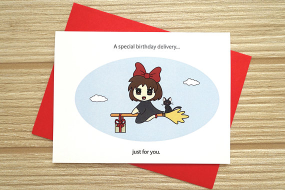 Kiki S Delivery Service Birthday Card Anime Card Birthday