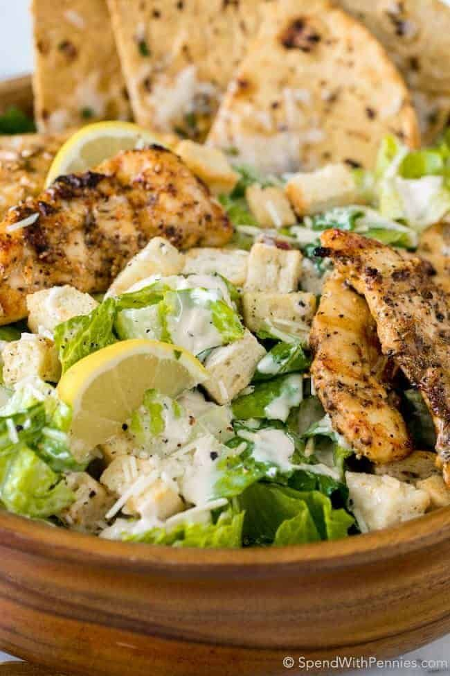 Grilled Chicken Caesar Salad with Garlic Parmesan Flatbread - Spend With Pennies