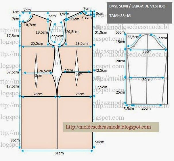 Molde base tamanho 38 com medidas para desenhar | Plantillas de moda ...