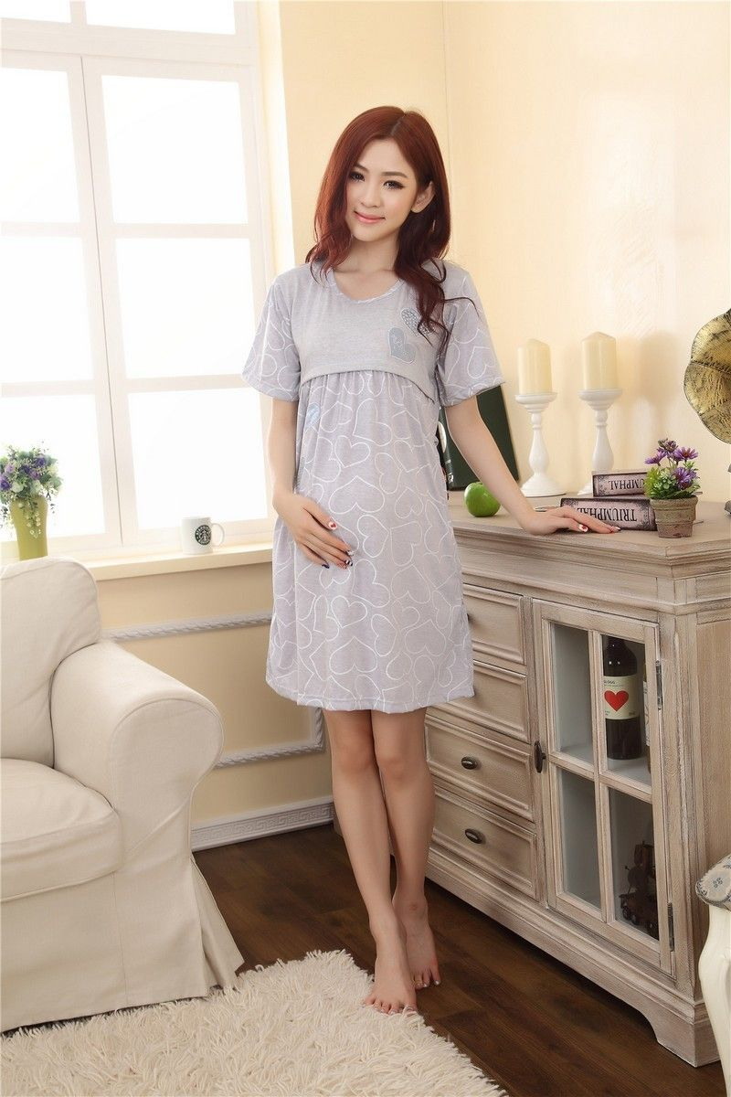 bd62eed062 Home Breastfeeding maternity nightgown pajamas Nursing nightie maternity- dress for lactating mothers Clothes pregnant women