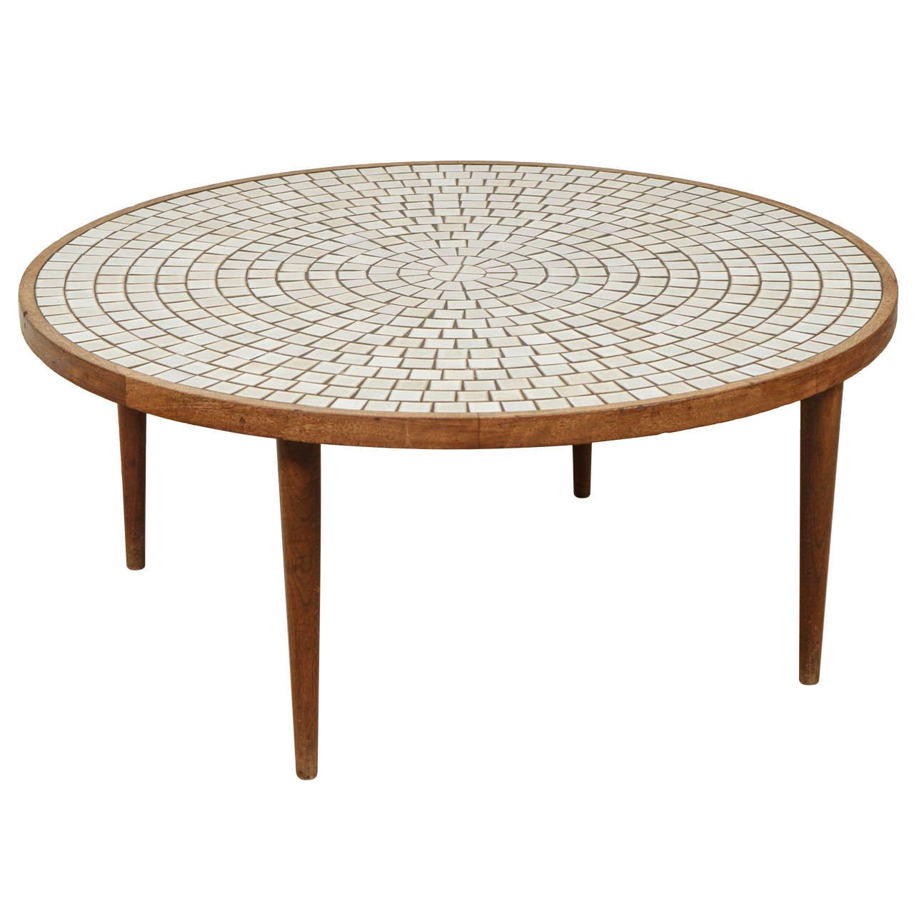Round Walnut Table with Studio Tiles by Gordon Martz for Marshall Studios   From a unique collection of antique and modern coffee and cocktail tables at https://www.1stdibs.com/furniture/tables/coffee-tables-cocktail-tables/