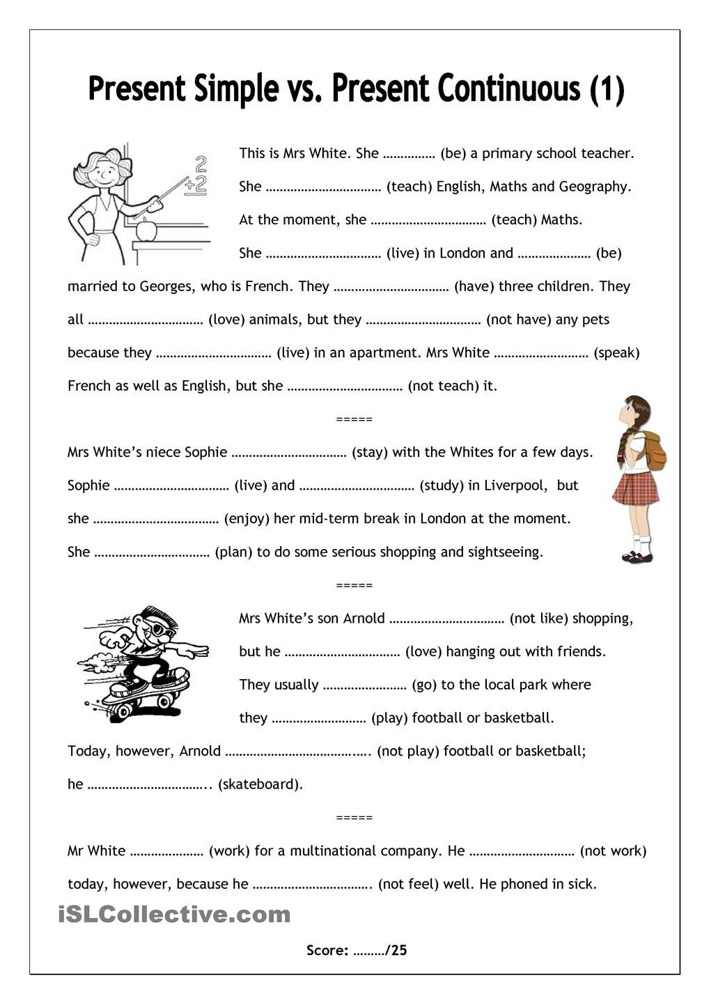 Nofrills worksheet for all ages Present Simple vs