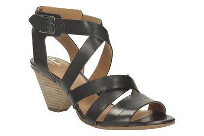 Clarks Ranae Estelle - Black Leather - Womens Casual Sandals | Clarks
