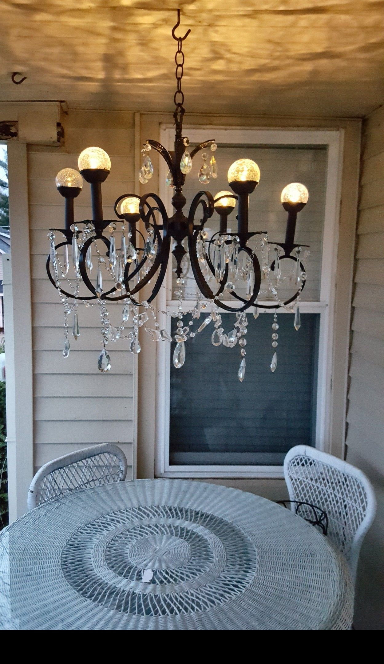 solar powered chandelier on recycled this awful old chandelier into a new beautiful outdoor solar chandelier with a little spray p solar chandelier old chandelier solar chandelier outdoor pinterest