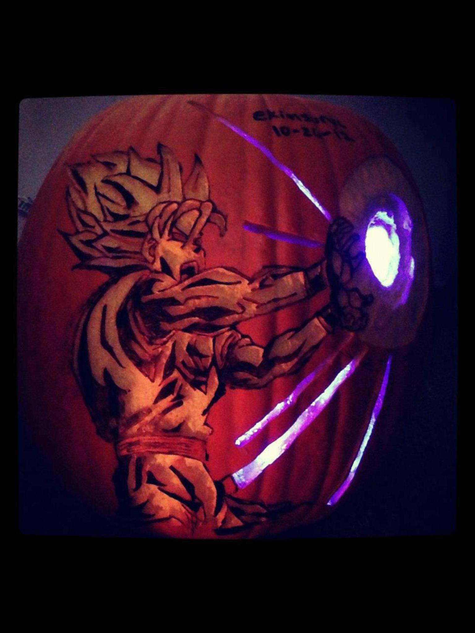Vegeta Pumpkin Carving: Goku's Kamehameha Wave Pumpkin Carving.