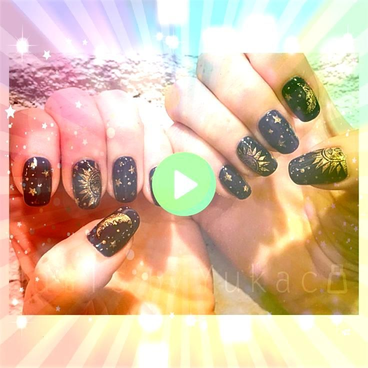 Midnight Sun     Midnight Sun      Midnight Sun      New space inspired mani Because I just love those All done with Liquitex acrylic paintsno polish used Also the design...