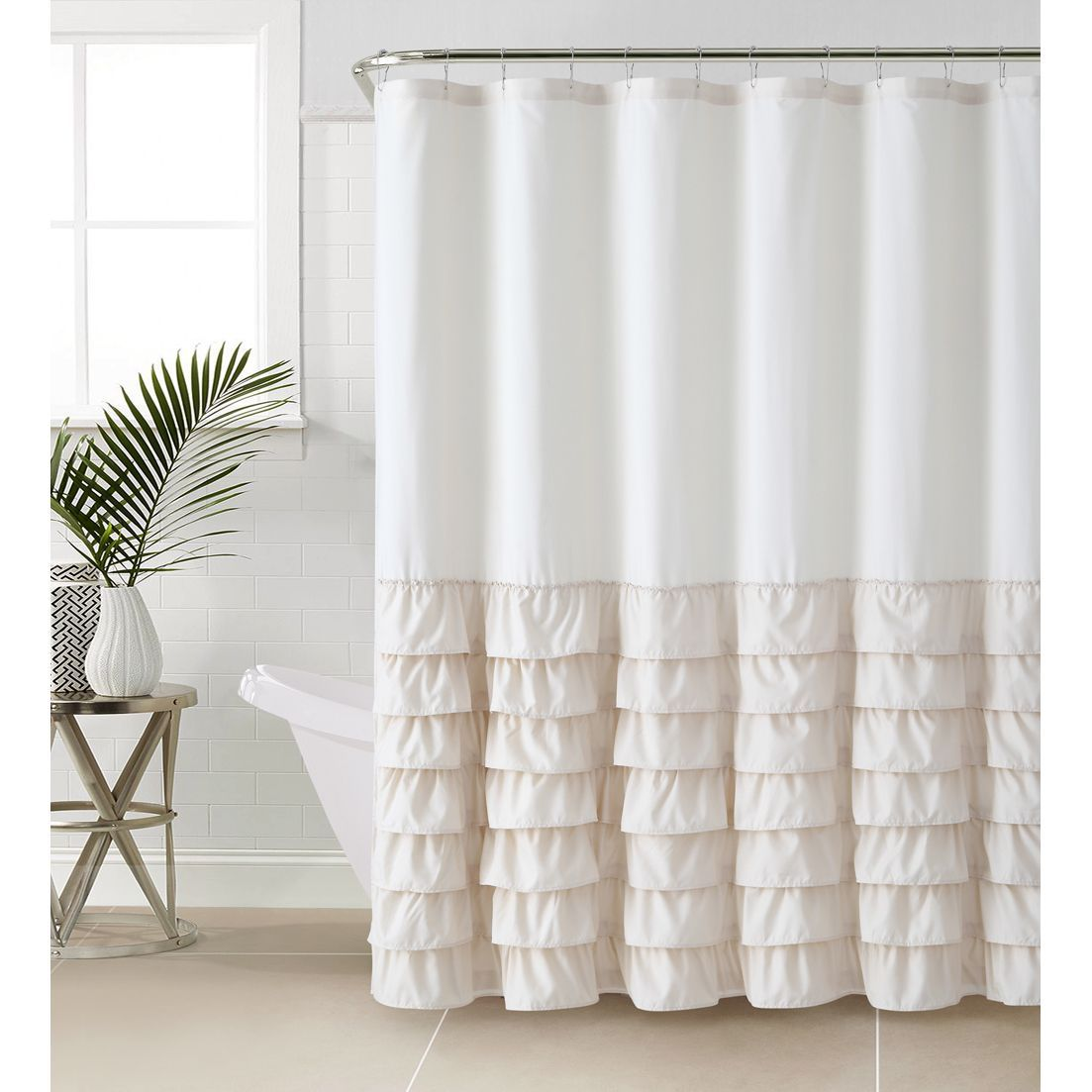 Vcny Melanie Ruffle Shower Curtain Taupe Brown Ruffle Shower