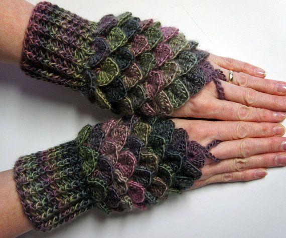 Green Crochet Dragon Gloves, Fingerless Gloves, Mermaid Gloves ...