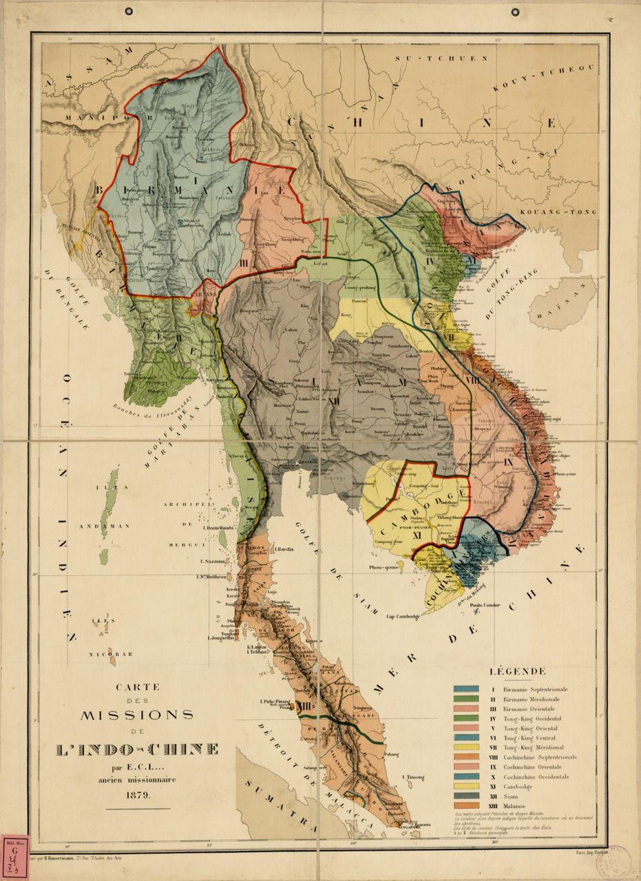 Birmanie Carte Regions.Abbe Lesserteur 1879 Catholic Missionary Regions In Indochina Maps