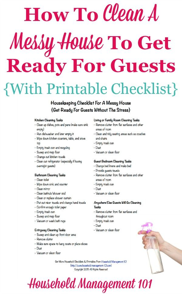 housekeeping checklist for a messy house  get ready for