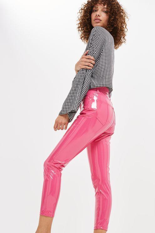 MOTO Pink Vinyl Jamie Jeans