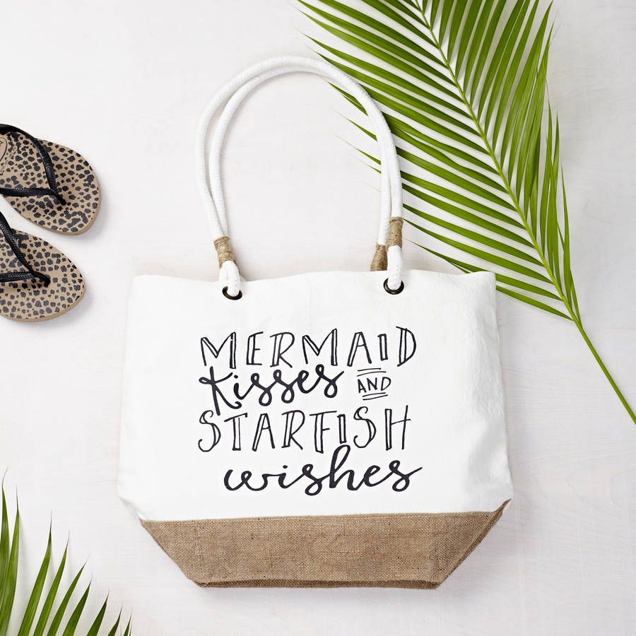 Mermaid Kisses Beach Bag by Tillyanna.The perfect bag for long summer holidays. Can be personalised with any message inside of the bag as per image.10oz cotton canvas with rope handles.            33 x 42 cm with gusset.