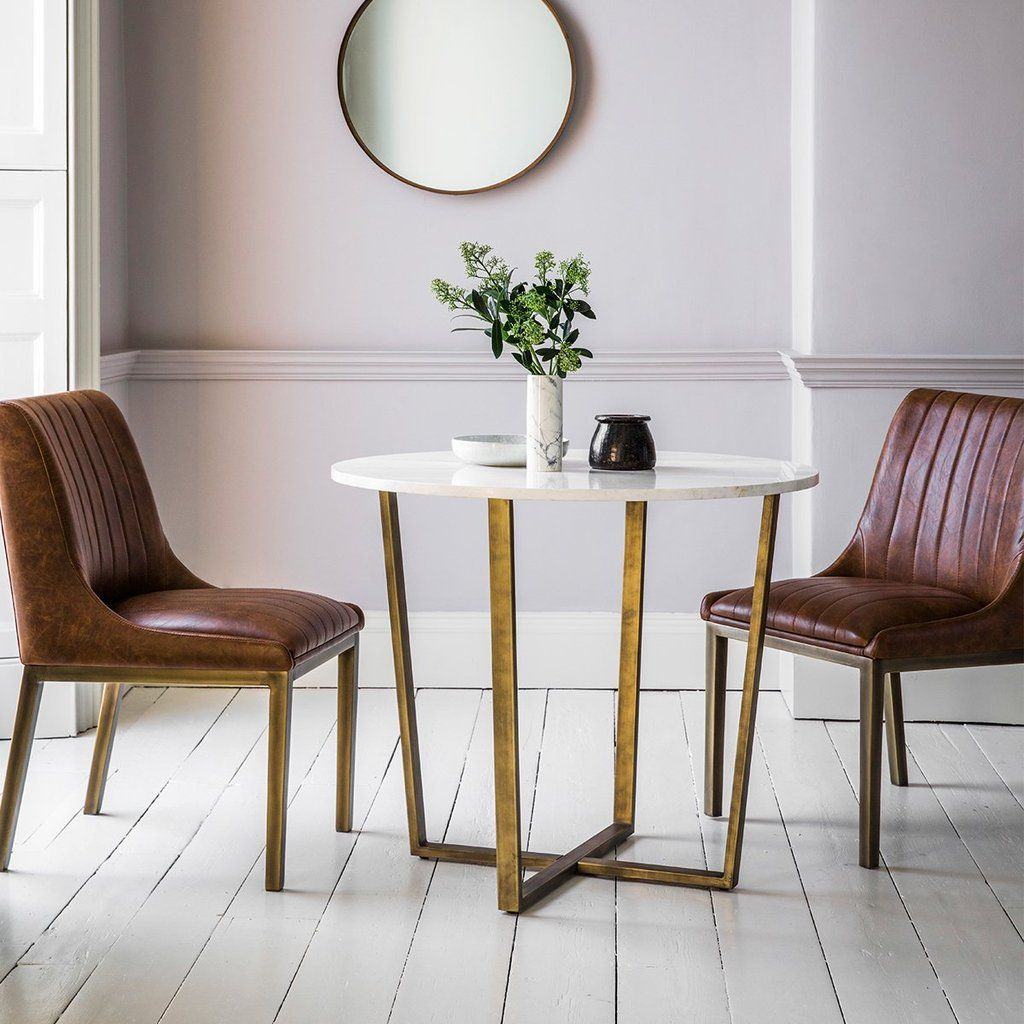 Hudson Living Cleo Round Marble Dining Table In Gold Marble Top