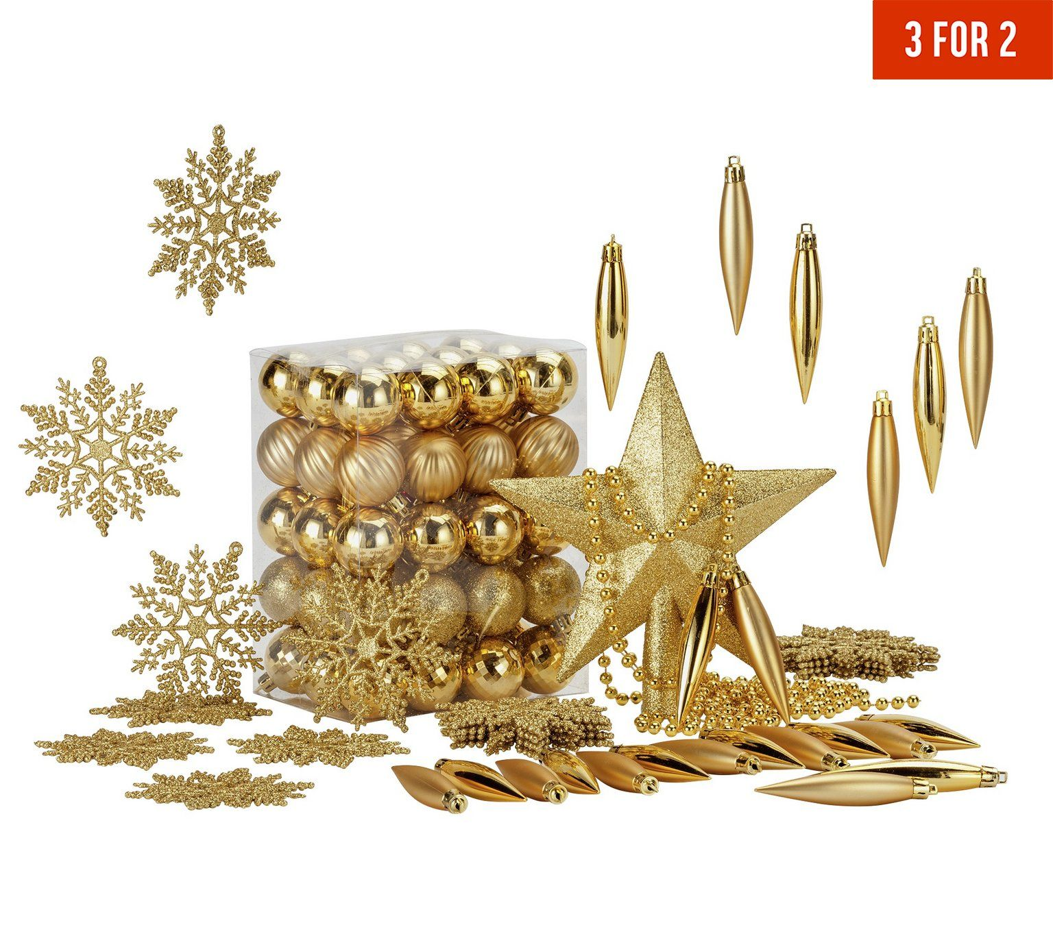 Buy HOME 100 Piece Christmas Decorations Pack   Gold At Argos.co.uk