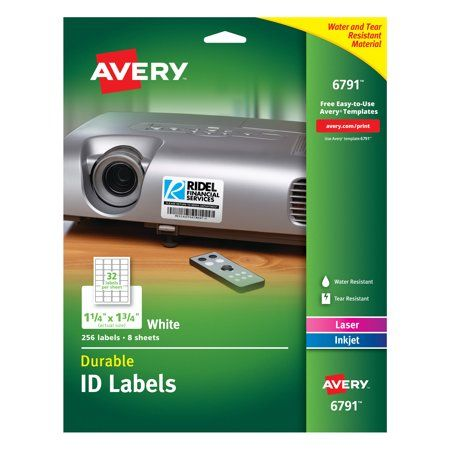 Avery Durable Easy Peel Id Labels Sure Feed Technology Permanent Adhesive 1 1 4 X 1 3 4 256 Labels 6791 Laser Printer Printing Labels Laser Labels