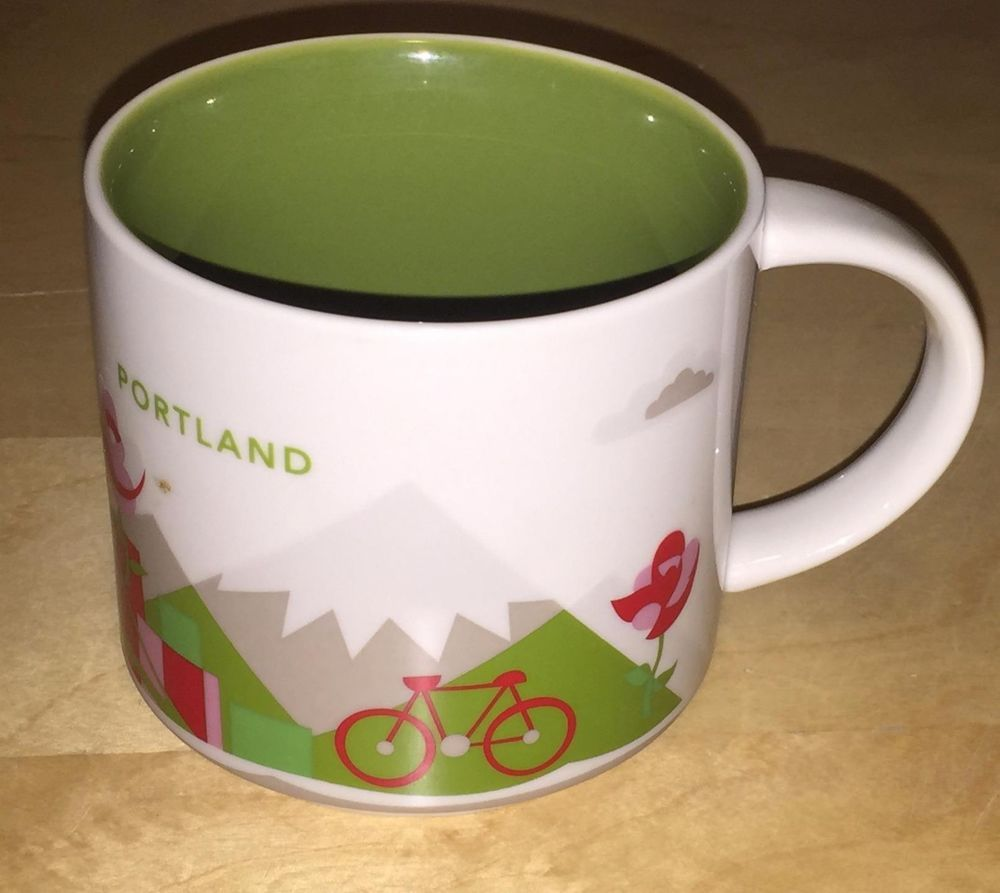 Starbucks Coffee Cup 2013 Portland You Are Here Collection 14 oz Mug Bike Bridge