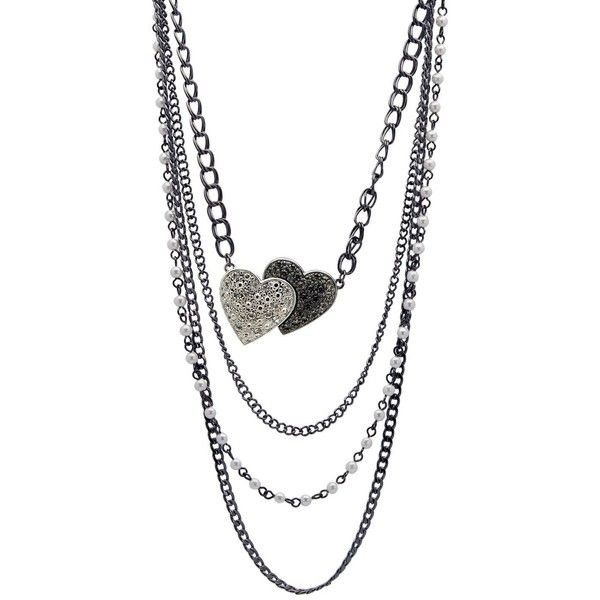 GUESS Necklace, Four Layer Heart Necklace (€14) ❤ liked on Polyvore featuring jewelry, necklaces, accessories, colar, collares, layered necklace, heart pendant necklace, layered pearl necklace, white collar necklace and collar necklace