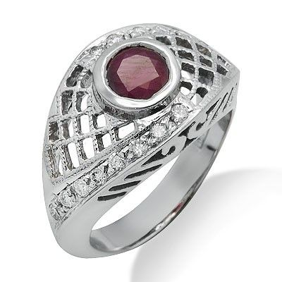 This beautiful design features a lovely 0.75ct round cut ruby surrounded by brilliant round cut diamonds in a 14k white gold prong setting. The color of the diamonds are G/H and the clarity is SI1/SI2.Different ring sizes may be available. Please inquire for details. $475.00