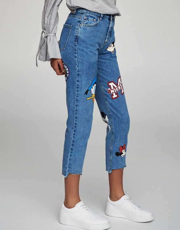 Jeans Mom Fit Mickey Mouse Jeans Ropa Mujer Pull Bear Colombia Jeans Outfit Women Thrift Fashion Mom Jeans