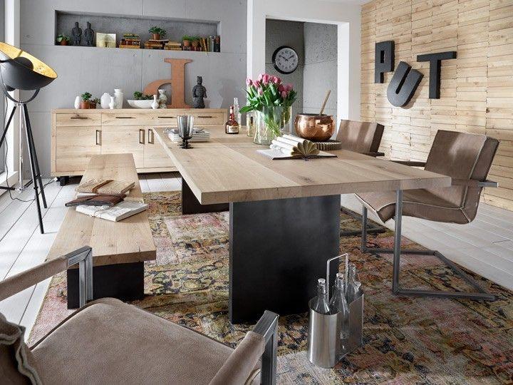 woodstock esstisch esszimmer ausziehtisch optional bodahl massivholz wildeiche eisen. Black Bedroom Furniture Sets. Home Design Ideas