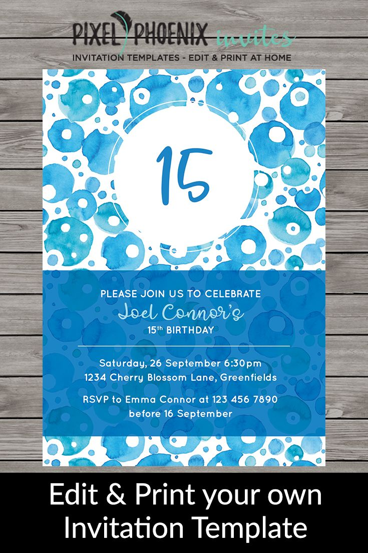 Boys Birthday Invite Teen Boy Birthday Invitations Any Age Invite - 5x7 birthday invitation template