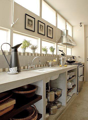 Cozinha alvenaria entre tachos e panelas pinterest for Casa moderna tunisie