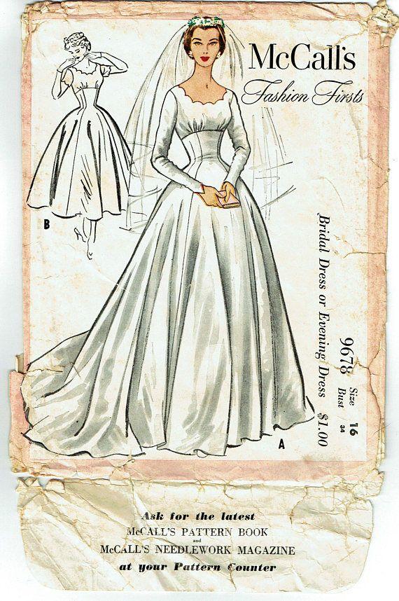 Original Vintage Sewing Pattern 1950 S Ladies Evening Or Wedding Go Vintage Wedding Dress Pattern Mccalls Sewing Patterns Free Wedding Dress Patterns