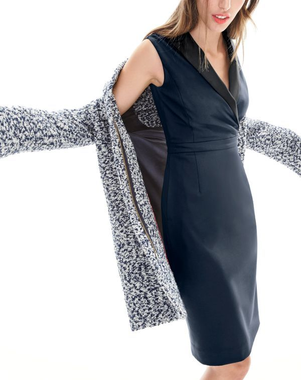 J.Crew women's bouclé cocoon coat and tuxedo sheath dress. To pre-order, call 800 261 7422 or email verypersonalstylist@jcrew.com.