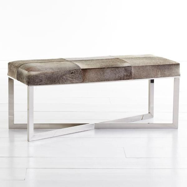 Crosshair Hide Bench Wisteria Furniture Bench Furniture Cowhide Bench