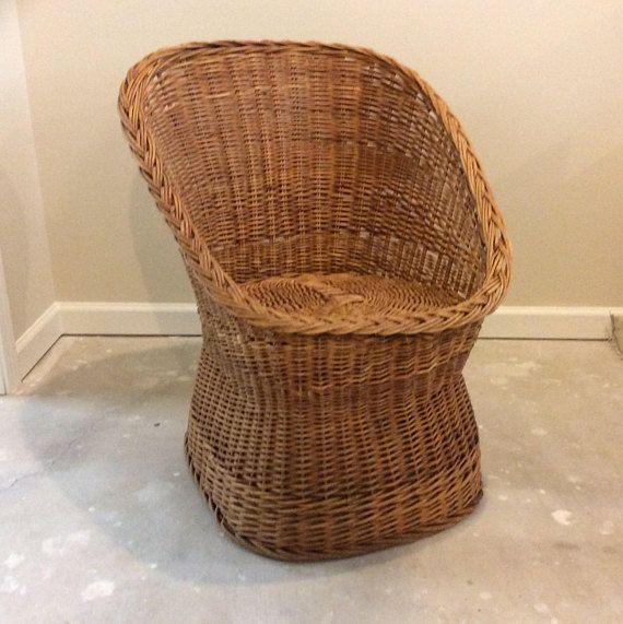 Vintage Yugoslavian Woven Wicker Barrel Chair Rattan Wicker